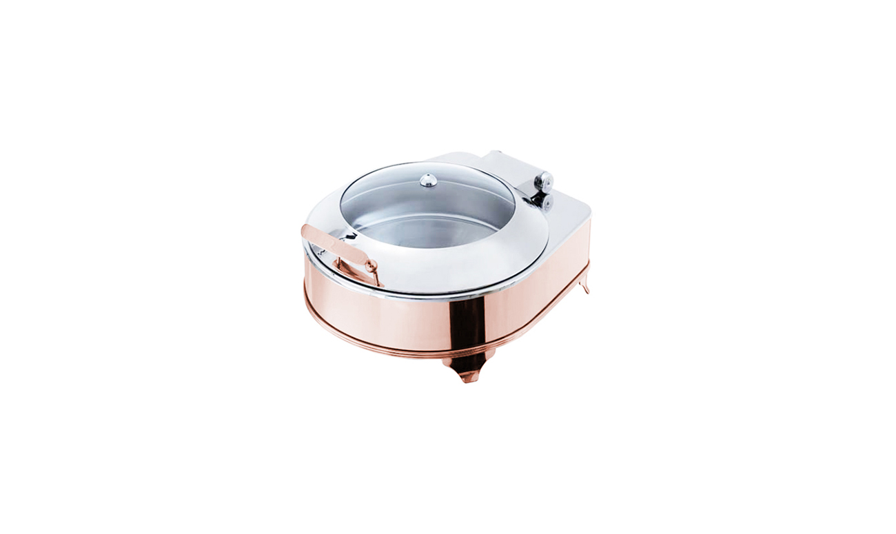 Exclusive Box Copper Yuvarlak Chafing Dish