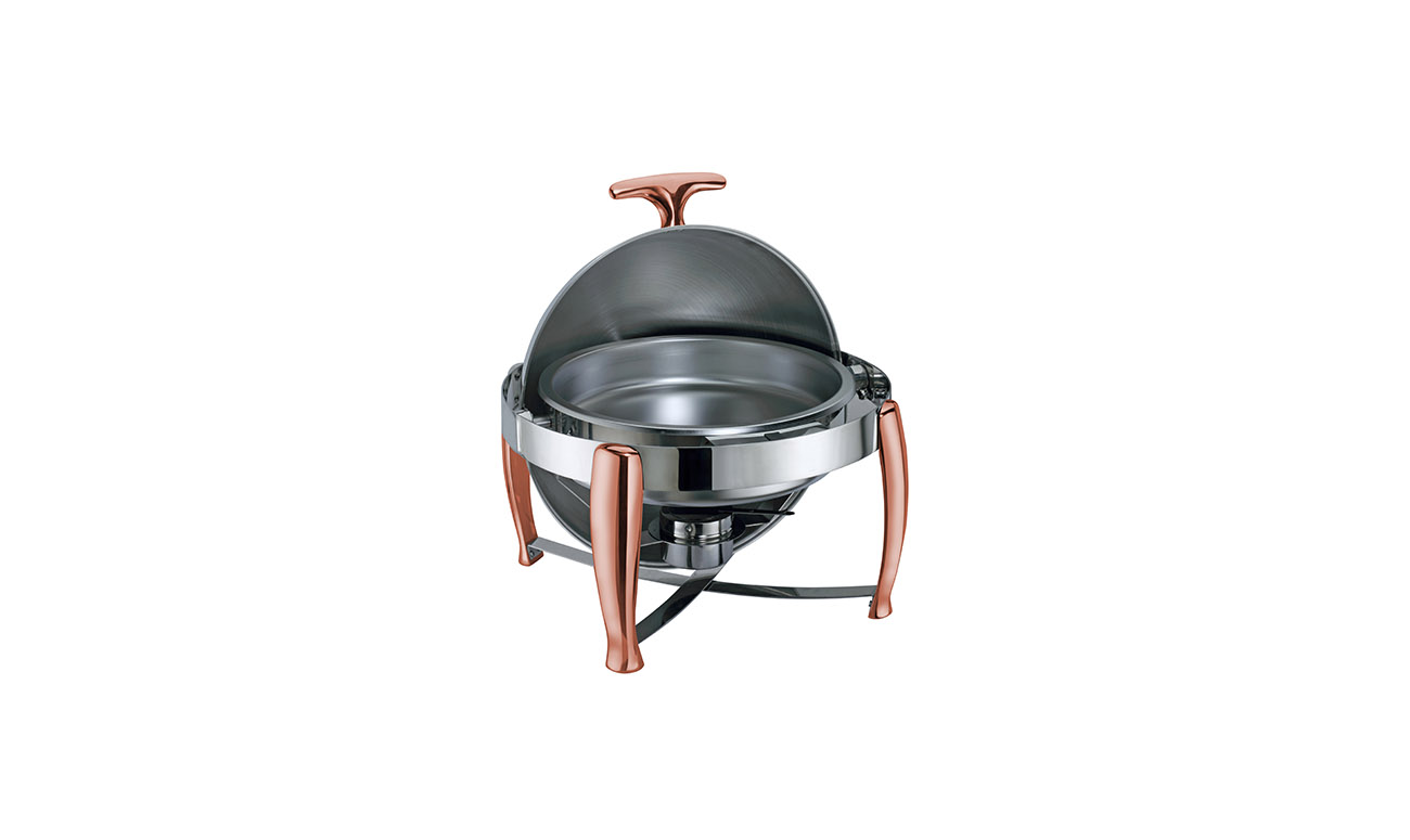 Roma Copper Yuvarlak Roll Top Chafing Dish