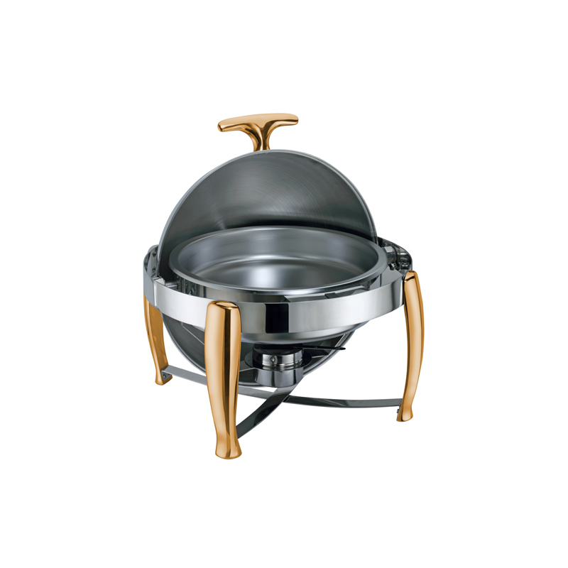 Roma Yuvarlak Roll Top Gold Chafing Dishler